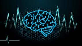 Binary Code Transform to Digital Brain along with Brainwave and Hexagon Digital Background