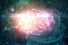 Digital brain in space Royalty Free Stock Images