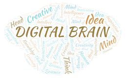 Digital Brain word cloud. Wordcloud made with text only vector illustration
