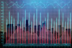 Digital business chart on city backdrop. Abstract digital business chart on city backdrop. Investment, finance, forex and trade concept. Double exposure Stock Images