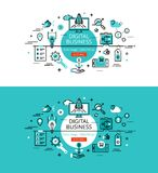 Digital business. Flat line color hero images and hero banners d Stock Image