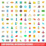 100 digital business icons set, cartoon style. 100 digital business icons set in cartoon style for any design illustration stock illustration