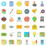 Digital business icons set, cartoon style. Digital business icons set. Cartoon style of 36 digital business vector icons for web isolated on white background Stock Photo