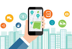 Digital business and social smart city connection on mobile royalty free illustration