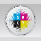 Digital button with cmyk halftone Royalty Free Stock Photo