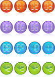 Digital Buttons. Set of 16 digital buttons counting from 0 to 15 Stock Images