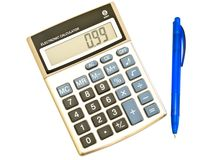 Digital calculator and ballpoint pen Stock Photo