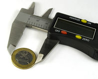 Digital caliper. And euro coin royalty free stock photos