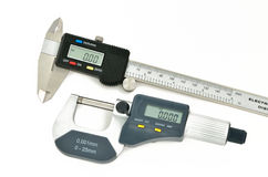 Digital caliper and micrometer Royalty Free Stock Images