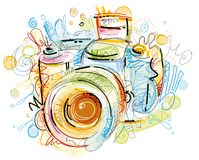 Digital Cam. Digital drawn Cam, isolated on white Background Royalty Free Stock Photo