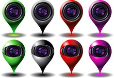 Digital cam icon set Stock Images