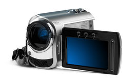 Digital camcorder against a bright background. Royalty Free Stock Images