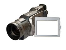 Digital camcorder with frame. Digital video camera with empty frame  on the screen isolated on white Royalty Free Stock Photos