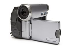 Digital Camcorder (Front-Side View). Consumer camcorder isolated on white Royalty Free Stock Photography