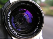 Digital camcorder lens. Digital camcorder with zoom lens Royalty Free Stock Photo