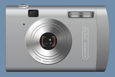 Digital camera. Computer generated illustration: realistic digital camera on blue background Stock Image