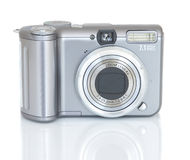 Digital camera. Compact digital camera on white background, all names erased Stock Images