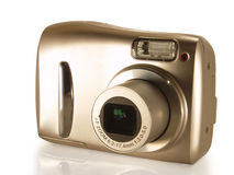 Digital camera. On a white background royalty free stock photo