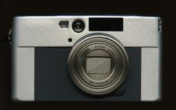 Digital camera. A compact digital camera, isolated on black Royalty Free Stock Photo