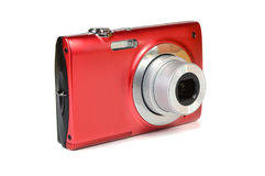 Digital camera. Red digital camera isolated on white background Stock Photos