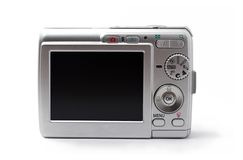 Digital Camera. Point and shoot camera isolated on white background Stock Photo