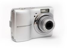 Digital Camera. Point and shoot camera isolated on white background Royalty Free Stock Image