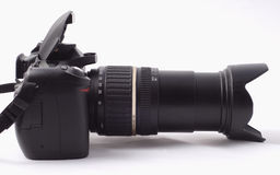 Digital Camera. Digital SLR with zoom lens extended and flash ready to fire Stock Image