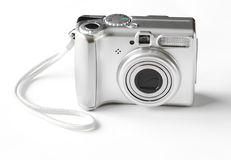 Digital camera. Point and shot silver digital camera Stock Photography