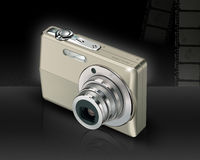Digital Camera. In black background with film strip Stock Photography