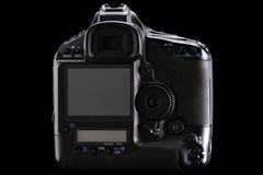Digital camera. Rear view of a digital camera against black background Stock Images