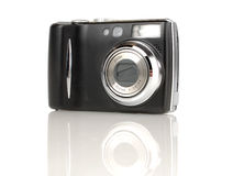 Digital camera. A isolated little compact 7 mp camera on white background royalty free stock photo