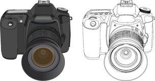 Digital camera. Black digital camera isolated on white background. Vector illustration Royalty Free Stock Photography