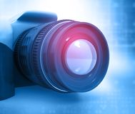 Digital camera. Abstract blue background Stock Photo