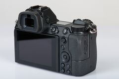 Digital camera with big screen. Back side view isolated stock photo