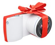 Digital camera with bow and ribbon, gift concept. 3D rendering stock illustration