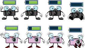 Digital camera catoon with battery level. Digital camera cartoon with battery levels from full to empty vector Royalty Free Stock Photo