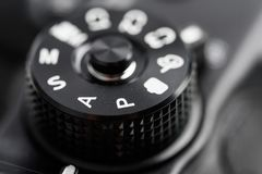 Digital Camera Control Dial Showing Aperture, Shutter Speed, Manual and Program Modes stock photography