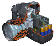 Digital Camera Cutaway Royalty Free Stock Photography