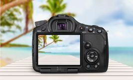 Digital camera. Camera rear view photography liquid-crystal display single object new stock image