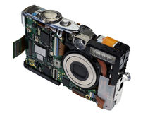 Digital camera in the disassembled kind on a white Stock Photos