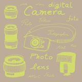 Digital camera drawing sketch Royalty Free Stock Photography