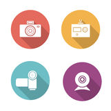 Digital camera flat design icons set Royalty Free Stock Photos
