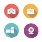 Digital camera flat design icons set Royalty Free Stock Photos