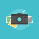 Digital camera flat icon illustration. Digital camera with instant picture frames. Flat icon modern design style vector illustration concept Royalty Free Stock Photos