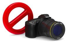 Digital camera and forbidden sign on white background.. 3D illustration Stock Images