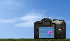 Digital camera on grass against blue sky Royalty Free Stock Photos