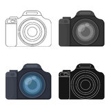 Digital camera icon in cartoon style  on white background. Rest and travel symbol stock vector illustration. Stock Images