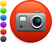 Digital camera icon on round internet button Royalty Free Stock Images