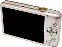 Digital Camera Lcd Screen. Digital Camera Isolated On White. Back View With Big 3.0 Inch LCD Screen Stock Photography