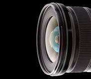 Digital camera lens. Isolated on black Royalty Free Stock Photo